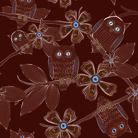 Seamless pattern of big eyed owls family on tree at night