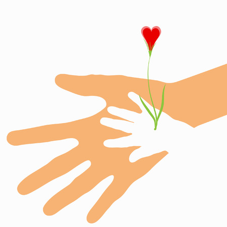 Love sprout shaped as heart flower growing from baby hand in the parent palm