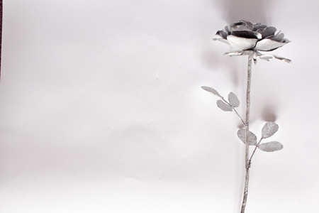Hand forged rose. Rose handmade forged from metal on a white background. Imagens