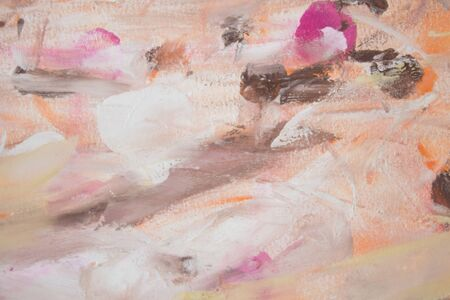 Colorful brushstrokes in acril on canvas. Abstract background blue, pink, white brown.