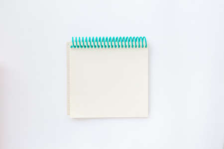 Open notebook for recording in the center of the frame. Top view. Flat lay composition. Stok Fotoğraf