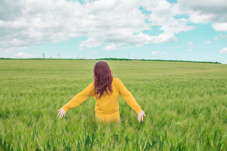 Young happy woman with luxurious hair raised her hands up in a wheat field against the sky. Harvesting a rich harvest