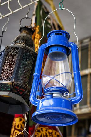 market bottom: A dusty kerosene lantern in the Middle East market Stock Photo