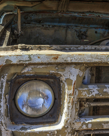 rusty car: A fragment of an old, rusty car Stock Photo