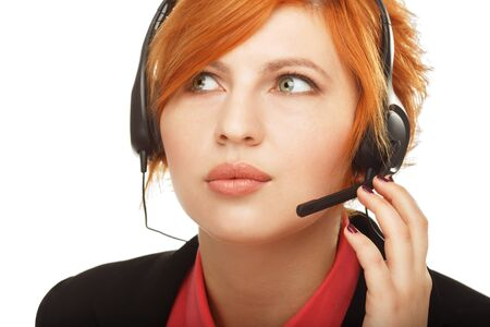 Closeup portrait of female customer service representative or call center worker or operator or support staff speaking with head set, isolated on white background Stock Photo