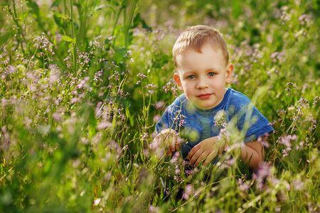squatting: Beautiful blueeyed little boy hiding in tall grass squatting