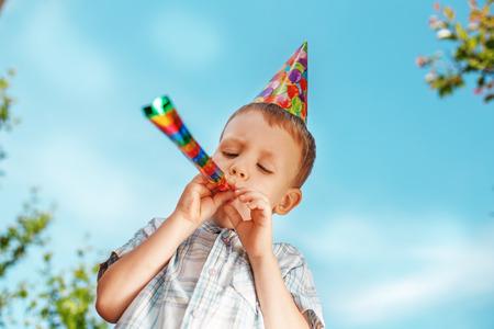 Little boy having fun and celebrating birthday