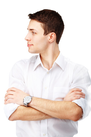 Half-face portrait of handsome man against white background Stock Photo