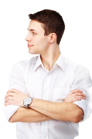 aretes: La mitad de cara retrato de hombre guapo contra el fondo blanco