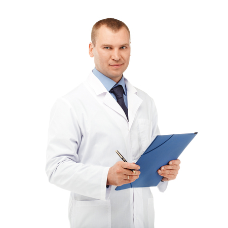urologist: Portrait of a young male doctor in a white coat against a white background