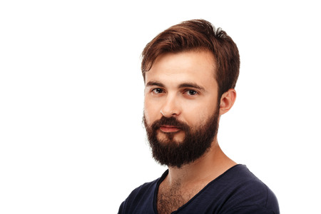 hairy chest: Close-up Portrait of a young bearded man isolated on white background