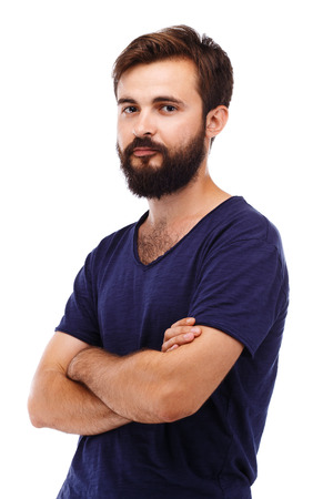 hairy chest: Portrait of a young bearded man isolated on white background Stock Photo