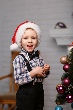 decorates: Cute little boy decorates a Christmas tree in the interior with Christmas decorations