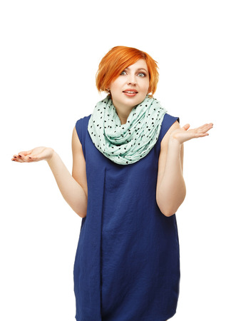 gesticulating: Close-up portrait of a funny red-haired girl emotionally gesticulating and waving his hands isolated on white background