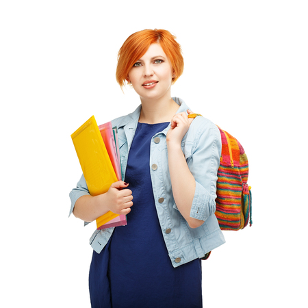 diligente: Portrait of diligent girl student with folders and backpack university or college with colored backpack Isolated on white background