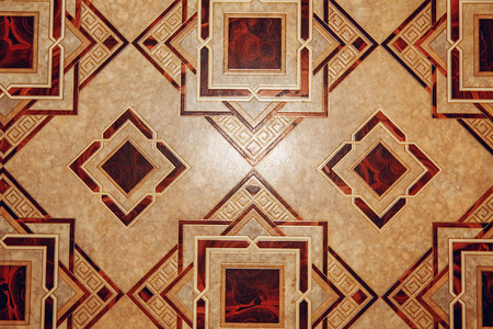 linoleum: Linoleum with brown geometric pattern. Linoleum background texture