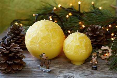 doublet: Decorative Handmade candles in the shape of a sphere Stock Photo
