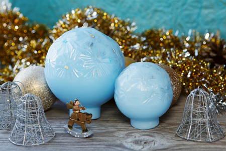 doublet: Decorative blue Handmade spherical candles