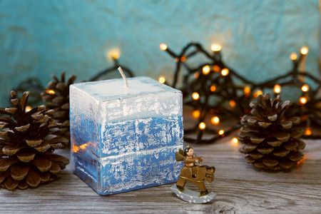 doublet: Decorative Handmade candles in the shape of a cube Stock Photo