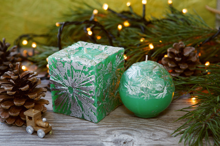 doublet: Decorative Handmade candles in the shape of a cube and sphere