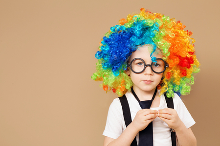 droll: Blithesome children. Happy clown boy with large colorful wig. Close-up Portrait of Little boy in clown wig and eyeglasses