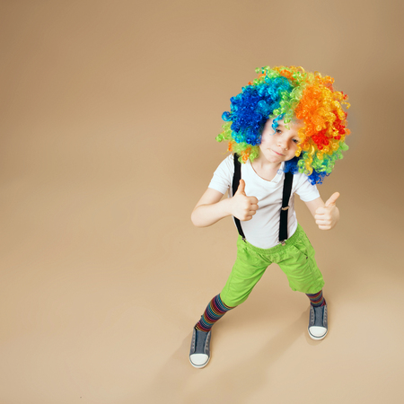 blithe: Blithesome children. Happy clown boy with large colorful wig. Little boy in clown wig dancing and having fun. Portrait of a child shot on a wide-angle lens. Birthday boy. Top view portrait