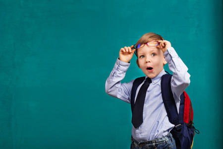 knowledgeable: little Boy in eyeglasses with big backpack. School, kid, rucksack. Cheerful smiling little boy opens his mouth in surprise. Looking at camera. School concept. Back to School Stock Photo