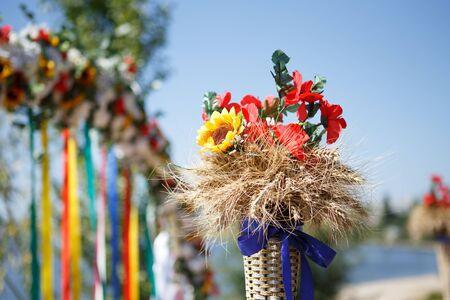 ukrainian: Traditional ukrainian wedding decorations outdoors Stock Photo
