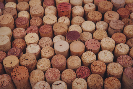 syrah: wine corks background. background texture with different wine corks Stock Photo