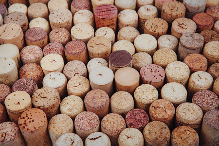 syrah: background texture with different wine corks. Wine corks Stock Photo
