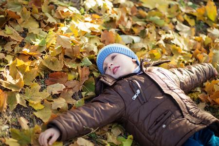 niños riendose: Retrato de un niño alegre revolcarse en el follaje de otoño. divertido niño cubierto con hojas de otoño sonriendo. Niño pequeño que miente y que se divierte entre el otoño multicolores hojas en el parque