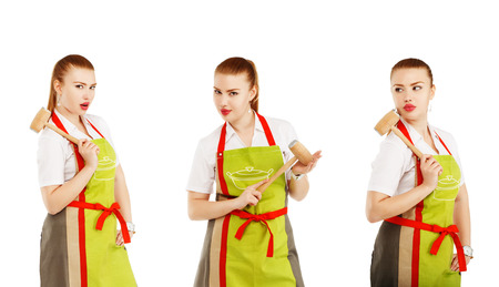 sexy housewife: Angry housewife with a meat hammer in her hands. Sexy housewife or baker chef wearing kitchen apron holds meat hammer isolated on white background. Collage of three photos