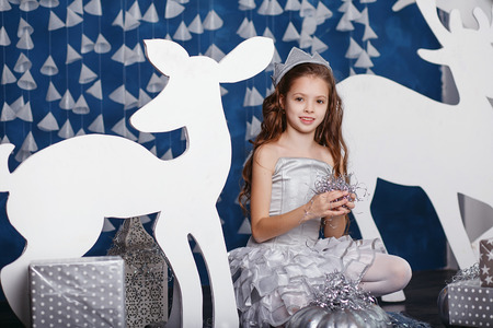 christmas crown: Little girl in christmas decorations. Portrait of Beautiful little girl with long curly hair with crown. Decor winter forest. Little Princess Foto de archivo