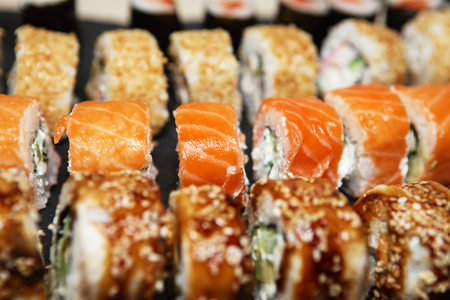 tekka: Best Types of Sushi Rolls. Philadelphia Roll, California Roll, Eel Avocado Roll. Delicious rolls and sushi with eel, salmon, shrimp, cucumber and philadelphia. Various delicious Types of Sushi Rolls