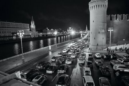 jamming: MOSCOW - JANUARY 02, 2017: Traffic jam. Bridge over the Moscow river. Black and white photography