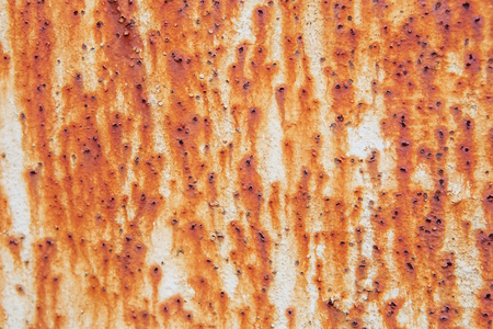 pitting: Rusty metal wall background with streaks of rust. Rust stains. Stock Photo