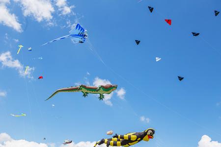 연 푸른 하늘에 비행입니다. 다양 한 모양의 연입니다. 키팅