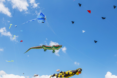 kites flying in a blue sky. Kites of various shapes. kiting