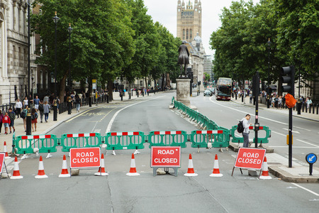 LONDON - AUGUST 20, 2017: Road Closed sign on a street of London Redakční