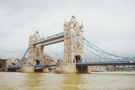 Tower Bridge in London, the UK. View from the River Thames