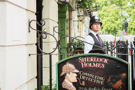 LONDON - AUGUST 24, 2017: The Sherlock Holmes museum is located on Baker Street and is dedicated to the fictional detective Sherlock Holmes.