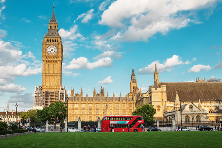 LONDON - AUGUST 19, 2017: - Palace of Westminster and Big Ben on restoration surrounded by scaffolding Editorial