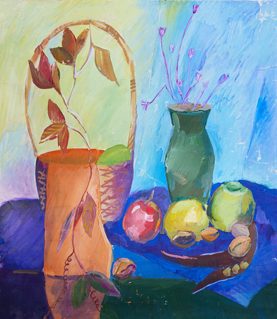 Still life composition illustration with basket, vase, fruit and dried flowers. Impressionism, childrens creativity