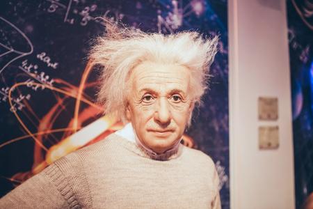 London, United Kingdom - August 24, 2017: Albert Einstein in Madame Tussauds wax museum in London Editorial
