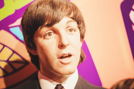 London, United Kingdom - August 24, 2017: Paul McCartney and The Beatles in Madame Tussauds of London