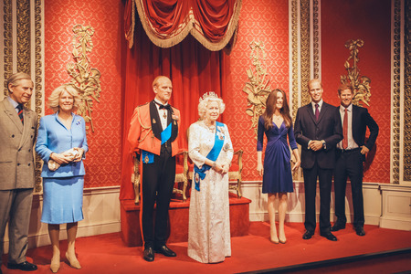 London, United Kingdom - August 24, 2017: British royal family in Madame Tussauds wax museum in London 新闻类图片