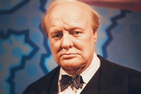 London, United Kingdom - August 24, 2017: Sir Winston Leonard Spencer-Churchill ( Winston Churchill ) in Madame Tussauds wax museum in London