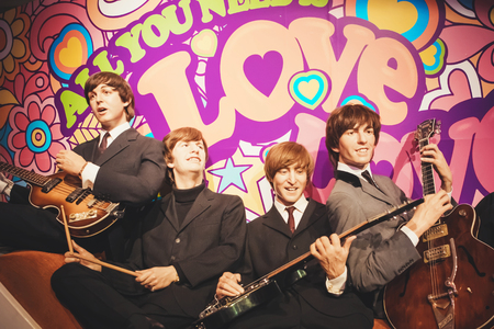 London, United Kingdom - August 24, 2017: The Beatles in Madame Tussauds of London Stok Fotoğraf - 96948452