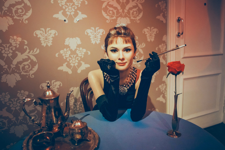 London, United Kingdom - August 24, 2017: Madame Tussauds wax museum in London. Wax figure Audrey Hepburn Editorial