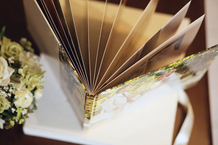 Wedding photobook for several pages, top view Stock Photo